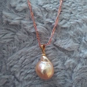 14k & 18k Rose Gold/Silver 12mm Pearl Necklace